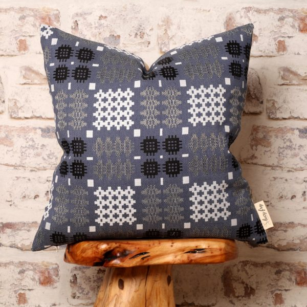 blue tapestry cushion