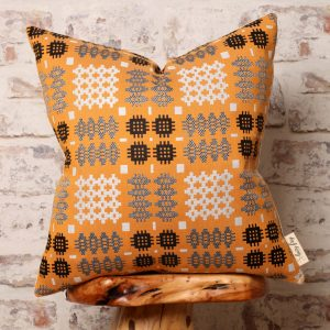 mustard welsh tapestry pillow
