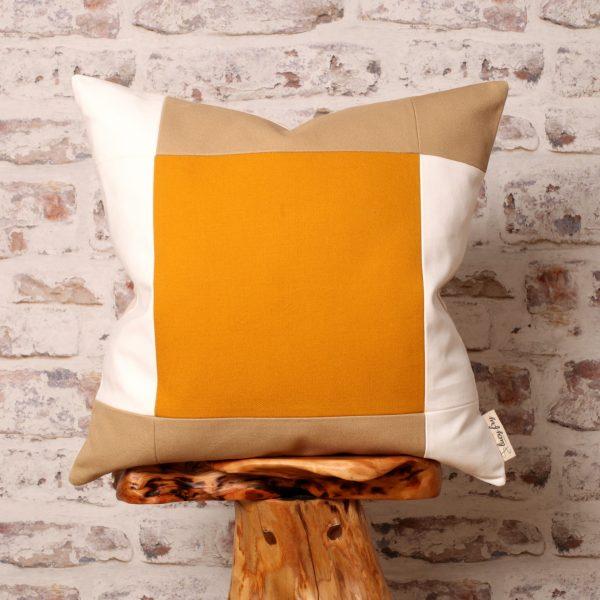 mustard pillow geometric