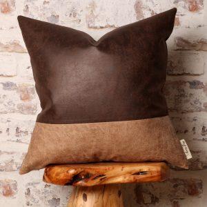 dark brown & cappuccino beige pillow