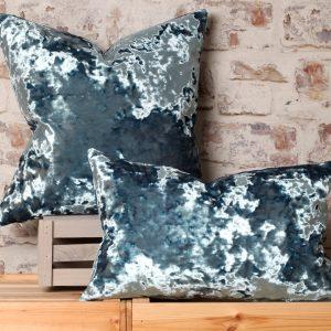 blue crush velvet pillow
