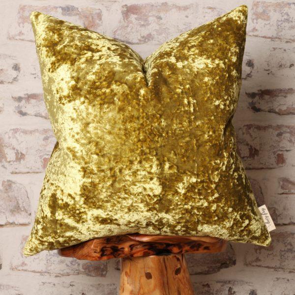 citrus yellow crushed velvet pillow