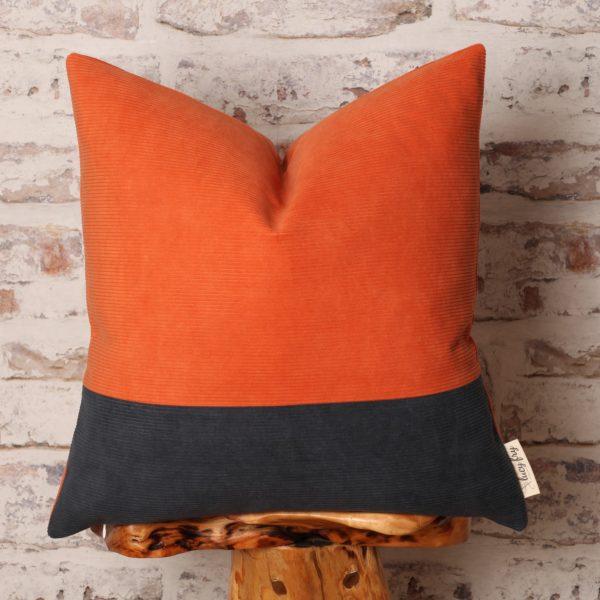 orange and navy pillow