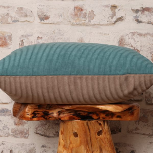 teal and grey taupe corduroy pillow